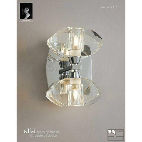 Alfa wall light with 2-light switch G9, polished chrome