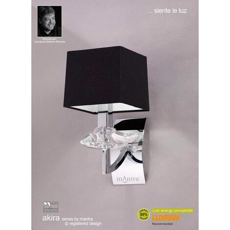 Akira wall light with 1-light switch E14, polished chrome with black lampshade
