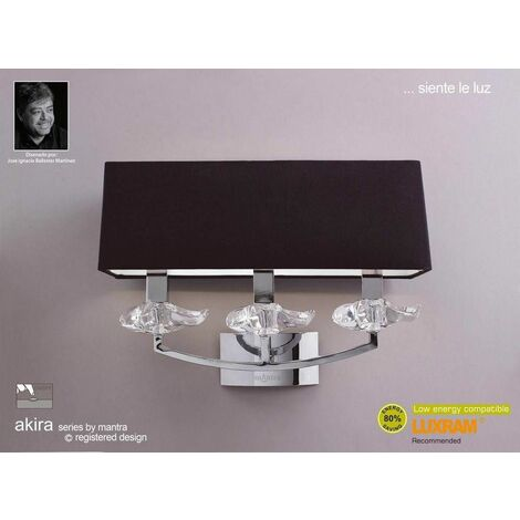 Akira wall light with 3-light switch E14, polished chrome with black lampshade