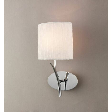 Eve wall light with 1-light switch E27, polished chrome with white oval lampshade