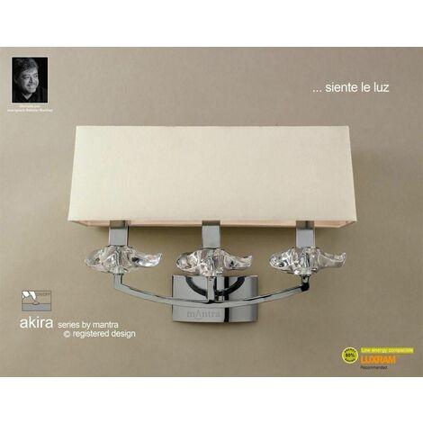 Akira wall light with 3-light switch E14, polished chrome with cream shade