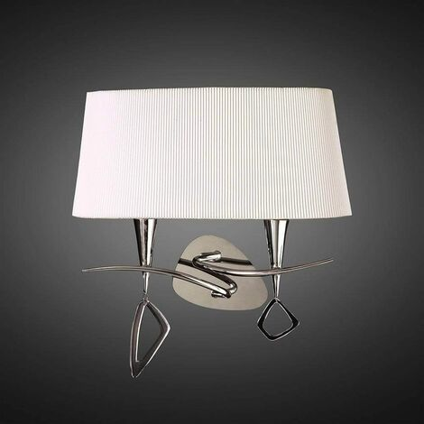 Mara wall light with 2-light switch E14, polished chrome with ivory white lampshade