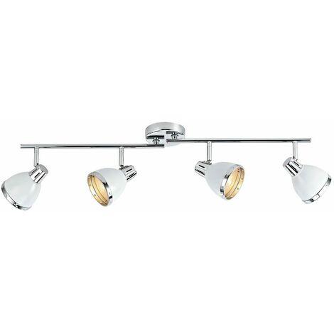 Osaka spotlight bar white glass and polished chrome 4 bulbs