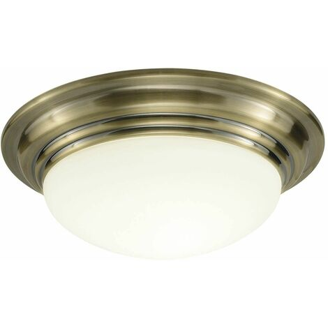 Barclay ceiling light in antique brass and opal glass 1 light