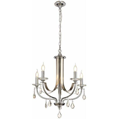 Efez crystal pendant light 5 bulbs Polished chrome