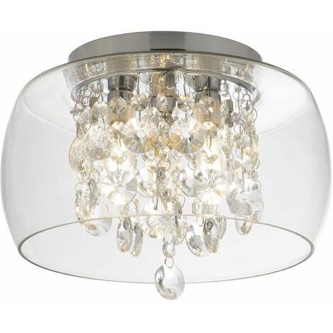 Clear glass ceiling light 3 bulbs crystal drops