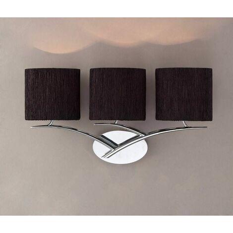 Eve wall light with 3-light switch E27, polished chrome with oval black
