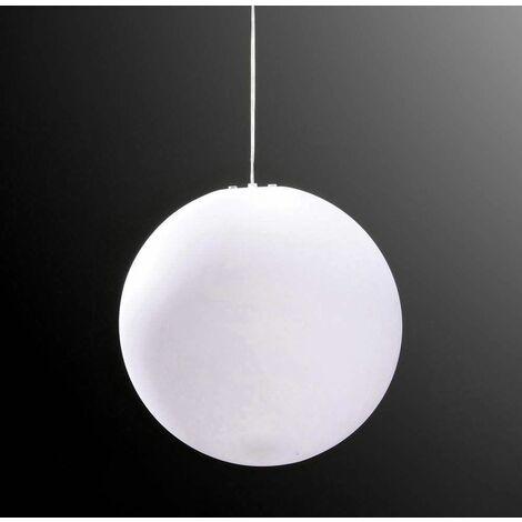 Huevo Ball Pendant Light 1 Bulb E27 Large Outdoor IP44, opal white