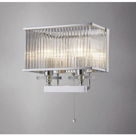 Vanessa wall light with switch 2 lights polished chrome / crystal