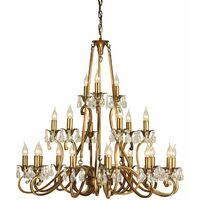 Oksana chandelier, antique brass, crystal pendants, 21 lights