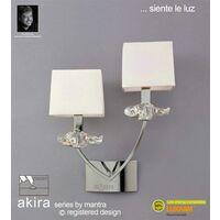 Akira wall light with 2-light switch E14, polished chrome with cream shade