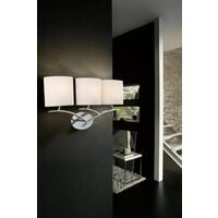 Eve wall light with 3-light switch E27, polished chrome with oval white lampshades