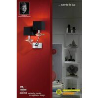 Akira wall light with 2-light switch E14, polished chrome with black lampshade