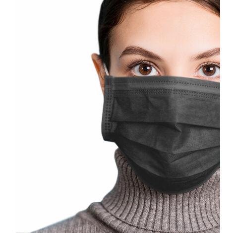 azurano Einweg Alltagsmaske Community-Maske | 50 Stück Schwarz | 3-lagige Behelfs-Mund-Nasen-Maske aus weichem Vlies | atmungsaktiv | geruchsneutral