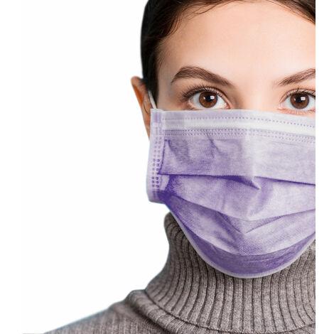 azurano Einweg Alltagsmaske Community-Maske | 50 Stück Lila | 3-lagige Behelfs-Mund-Nasen-Maske aus weichem Vlies | atmungsaktiv | geruchsneutral
