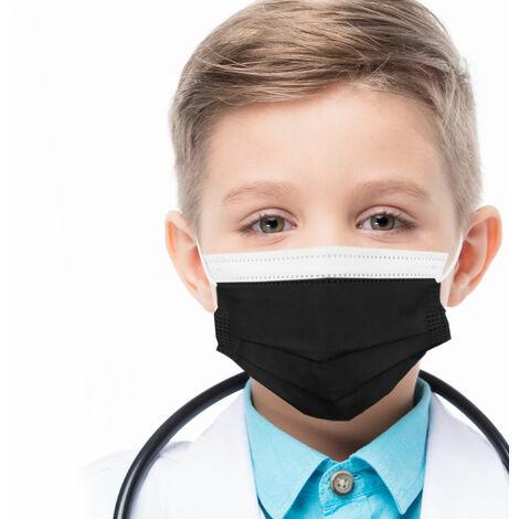azurano Einweg Alltagsmaske Community-Maske | 50 Stück Kinder Schwarz | 3-lagige Behelfs-Mund-Nasen-Maske aus weichem Vlies | atmungsaktiv | geruchsneutral