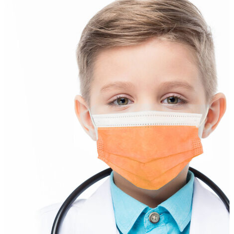 azurano Einweg Alltagsmaske Community-Maske | 50 Stück Kinder Orange | 3-lagige Behelfs-Mund-Nasen-Maske aus weichem Vlies | atmungsaktiv | geruchsneutral