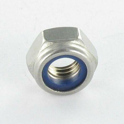 ECROU FREIN INOX A2 M6 ACIER ZING BLANC   Conditionnement: 100 pieces