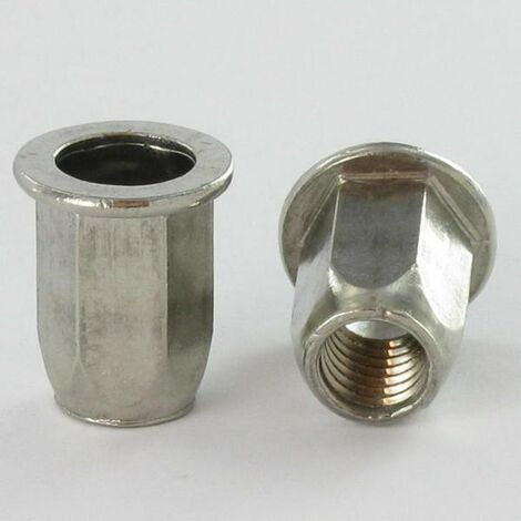 ECROU A SERTIR INOX TETE PLATE HEXAGONAL M8X18 INPTH 30 | Conditionnement: 10 pieces