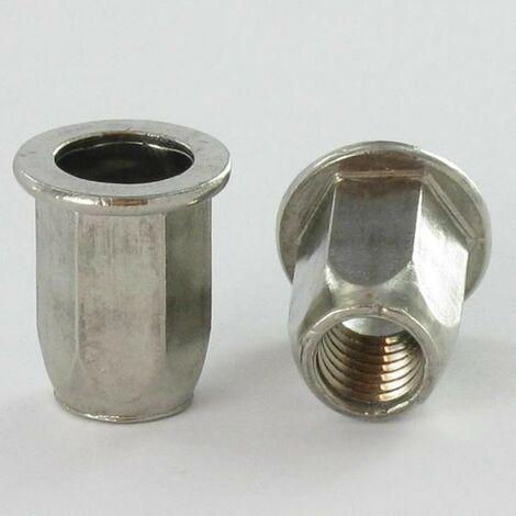 ECROU A SERTIR INOX TETE PLATE HEXAGONAL M8X18 INPTH 30 | Conditionnement: 200 pieces