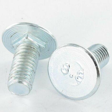 VIS METAUX TETE PLATE M6X31.5/20 EPAISSEUR TETE 1 ACIER ZING BLANC | Conditionnement: 10 pieces