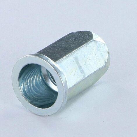 ECROU A SERTIR HEXAGONAL TETE PLATE TP M8X15.5 ACPTH 30 ACIER ZING BLANC | Conditionnement: Unitaire