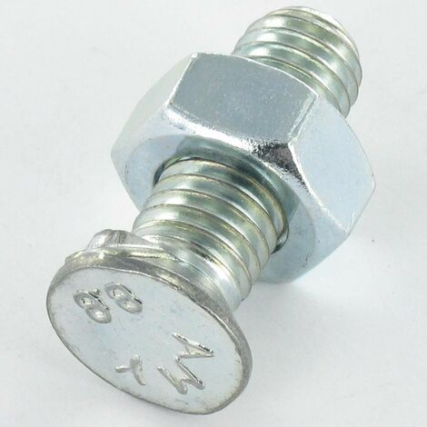 BOULON CHARRUE TETE FRAISEE TF M12X40 2 ERGOTS CLASSE 8.8 ACIER ZING BLANC | Conditionnement: Unitaire