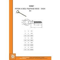 PITON A OEIL FILETAGE BOIS INOX A4 8X80   Conditionnement: 5 pieces