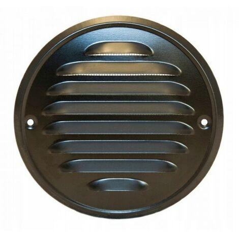 Grille de ventilation ronde vissée 100 noir