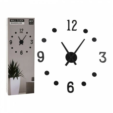 Horloge adhésive murale, couleur noire.