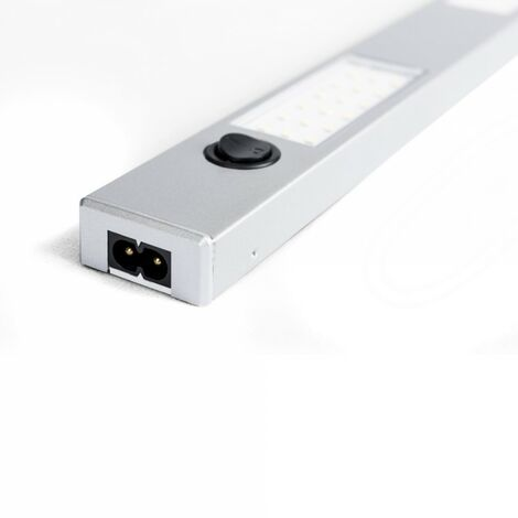 Réglette pour Cuisine ALBAN LED avec Interrupteur - Aluminium Silver - Led intégrée 3x2W 600Lm 4000K - IP20 CLII