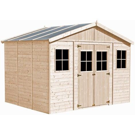 Abri de Jardin en Bois Naturel - Stockage extérieur avec fenêtres- H246x418x318 cm/12 m²- hangar en bois naturel - Atelier rangement outils et vélos- Timbela M331