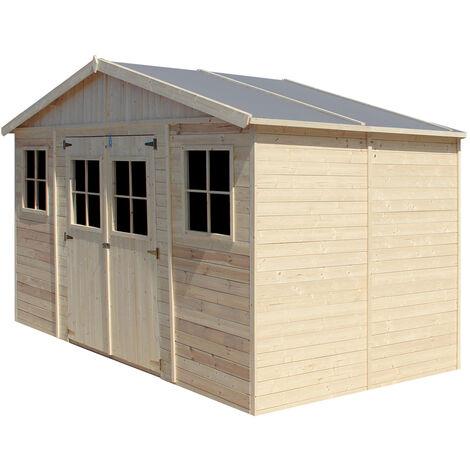 Abri de Jardin en Bois Naturel - Stockage extérieur avec fenêtres- H246x418x220 cm/8 m² hangar en bois naturel - Atelier rangement outils et vélos- TIMBELA M332