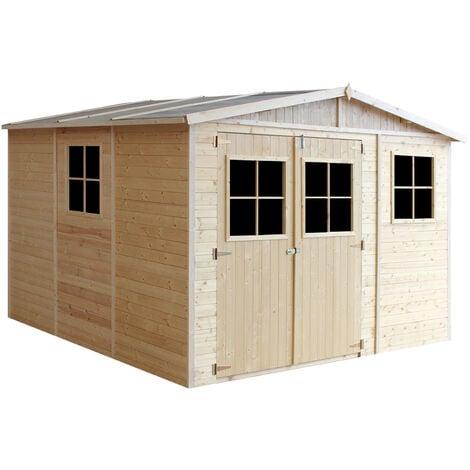 Abri de Jardin en Bois Naturel - Stockage extérieur avec fenêtres- H226x316x324 cm/9 m² hangar en bois naturel - Atelier rangement outils et vélos- TIMBELA M335