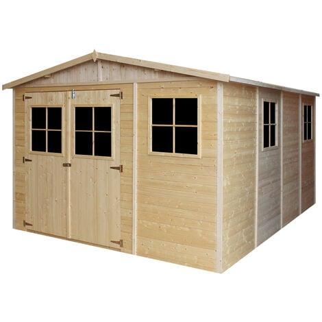 Abri de Jardin en Bois Naturel - Stockage extérieur avec fenêtres- H226x324x416 cm/12 m² hangar en bois naturel - Atelier rangement outils et vélos- TIMBELA M336