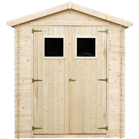 Abri de jardin en bois TIMBELA M367 - Stockage extérieur I196xL136xH218 cm/ 1.98 m2 Petit abri à outils, Local à vélos - Toit imperméable, fenêtres
