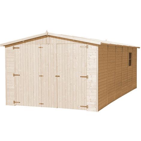 GARAGE en bois Naturel - Chalet en Pin / épicéa- H222X616x324 cm/18 m² - Construction de panneaux- Rangement pour vélos, remise à outils-TIMBELA M102