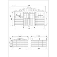 Abri de Jardin en Bois Naturel - Stockage extérieur avec fenêtres- H246 x 418 x 420 cm/ 16 m²- hangar en bois naturel - Atelier rangement outils et vélos- TIMBELA M330