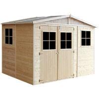 Abri de Jardin en Bois Naturel - Stockage extérieur avec fenêtres- H226x318x220 cm/6 m² hangar en bois naturel - Atelier rangement outils et vélos- Timbela M334