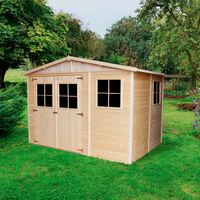 Abri de jardin en bois Exterieur AVEC LES PLANCHERS IMPRÉGNÉ- Cabane de jardin en Pin / épicéa-H226x318x220 cm- Construction de panneaux- Rangement pour vélos, remise à outils- Timbela M334+M334G