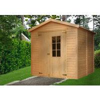 Abri de Jardin en Bois Naturel - Stockage extérieur avec fenêtres H228x222x233 cm/4,2 m² hangar en bois naturel - Atelier rangement outils et vélos- TIMBELA M351E
