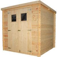 Abri de jardin en bois AVEC SOL TRAITÉ TIMBELA M309+M309G- Stockage extérieur l204xL204xH202 cm/3.53 m2- Petit abri à outils, Local à vélos - Toit imperméable, fenêtres