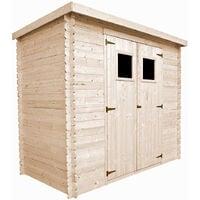 Abri de jardin en bois TIMBELA M310 - Stockage extérieur l239xL144xH200cm/2.6m2 - Petit abri à outils, Local à vélos - Toit imperméable, fenêtres