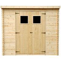 Abri de jardin en bois AVEC SOL TRAITÉ TIMBELA M310+M310G - Stockage extérieur l239xL144xH200cm/2.6m2 - Petit abri à outils, Local à vélos - Toit imperméable, fenêtres