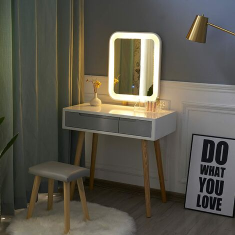 Dressing Table and Mirror Furniture Makeup Vanity Table with Wooden Cushioned Stool Set Square Mirror