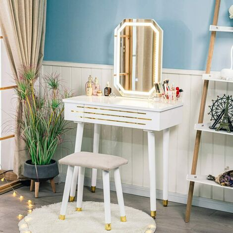 Dressing Table LED Light Dimmable Makeup Table with Mirror and Stool, Makeup Table with 2 Sliding Drawers