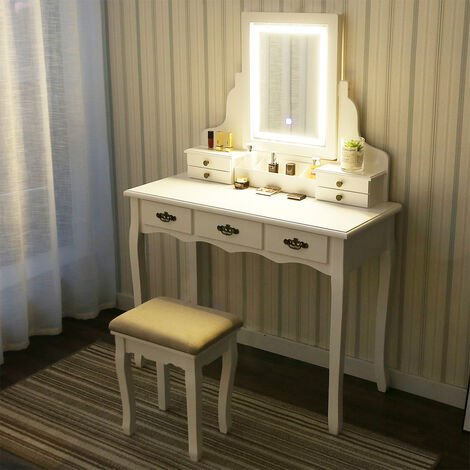 Dessing Table with Touch Screen Mirror Set Makeup Vanity with 3 Drawers Jewelry Organizer and Cushioned Stool