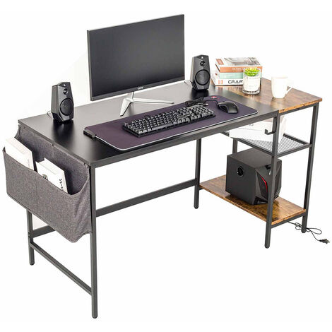 Computer Desk Study Table with Removable Shelf Wooden Laptop Table with Storage Bag Earphone Hook Easy Assembly