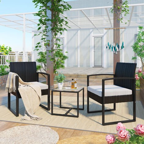 3 PCs Rattan Garden Furniture Set Patio Sofa Set PE Rattan Outdoor Seating with 2 Armchairs and 1 table for Outdoor Conservatory Bistro Porch Balcony Black