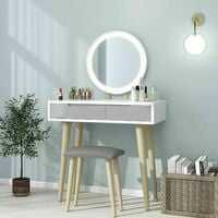 Dressing Table and Mirror Furniture Makeup Vanity Table with Wooden Cushioned Stool Set Round Mirror